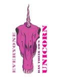 Roze unicorn&sschedel met een teken royalty-vrije stock fotografie