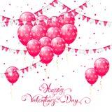 Roze Valentijnskaartenballons en wimpels Stock Afbeeldingen
