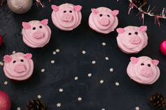Roze varken cupcakes - eigengemaakte die cupcakes met eiwitroom en heemst wordt verfraaid gaven grappige piggies gestalte stock foto