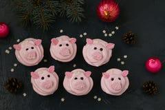Roze varken cupcakes - eigengemaakte die cupcakes met eiwitroom en heemst wordt verfraaid gaven grappige piggies gestalte royalty-vrije stock afbeeldingen