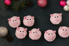 Roze varken cupcakes - eigengemaakte die cupcakes met eiwitroom en heemst wordt verfraaid gaven grappige piggies gestalte stock afbeelding