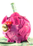 Roze varken van geld-doos stock afbeeldingen