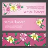Roze Vectorbanners met Lily Flowers stock illustratie