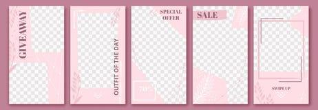 Roze verhalenmalplaatje De leuke verhaal postlay-out, vormt bloemenaffiche en de bevallige vector van de de malplaatjeslay-out va royalty-vrije illustratie