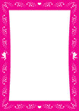 Roze verliefde grens met hart en cupido's voor Valentine-dag Royalty-vrije Stock Fotografie