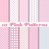 Roze verschillende vector naadloze patronen Royalty-vrije Stock Fotografie