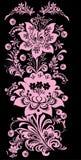 Roze verticale bloemenstreep Stock Afbeeldingen