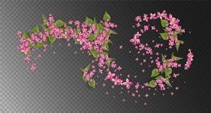 Roze Vliegende Bloemen Royalty-vrije Stock Afbeeldingen
