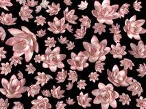 Roze vliegende bloemen op een zwarte achtergrond als behang stock afbeeldingen