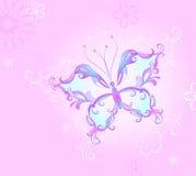 Roze vlinder Stock Illustratie