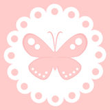 Roze vlinder geïsoleerde decoratievector Royalty-vrije Stock Afbeelding