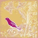 Roze vogel en bloemen Royalty-vrije Stock Foto's