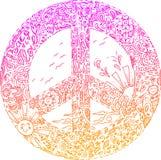 Roze VREDESsymbool geschetste krabbels royalty-vrije stock foto's