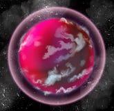 Roze vreemde planeet met atmosfeer stock illustratie