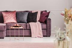 Roze vrouwen` s woonkamer royalty-vrije stock afbeelding