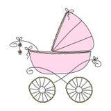 Roze wandelwagen voor meisjes Vectortekening uit de vrije hand royalty-vrije illustratie