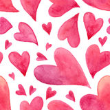 Roze waterverf geschilderd harten naadloos patroon Royalty-vrije Stock Afbeeldingen