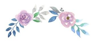 Roze Waterverfbloem Hand Geschilderd Garland Floral Wreath Stock Afbeeldingen