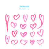 Roze waterverfharten Royalty-vrije Stock Foto