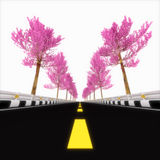 Roze weg. stock illustratie