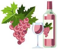 Roze wijn met druiven, fles en glas stock illustratie