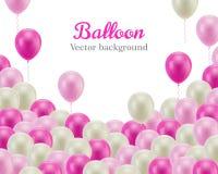 Roze witte ballen onderaan kader witte achtergrond Stock Afbeelding