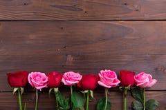 Roze, Witte en Rode Rozen Royalty-vrije Stock Foto's