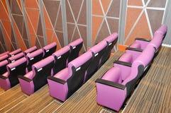 Roze zetelrij in moderne auditoriumdecoratie met houten muur en vloer stock fotografie