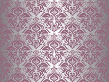 Roze & zilveren uitstekend behang Stock Afbeeldingen