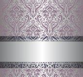 Roze & zilveren uitstekend behang Stock Afbeelding