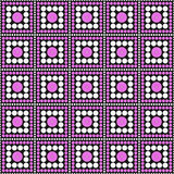 Roze, Zwart-witte Polka Dot Square Abstract Design Tile Patt Stock Fotografie