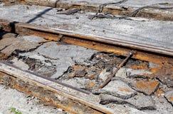 Rozebranie starzy tramwajowi poręcze Zdjęcia Stock