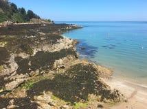 Rozel海湾,泽西,英国的海岛 免版税图库摄影