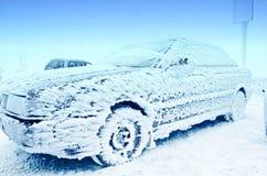 Rozen bil på vintern Arkivbilder