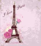 Rozen en de toren van Eiffel royalty-vrije illustratie