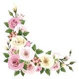 Rozen en lisianthusbloemen Vectorhoekachtergrond