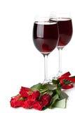 Rozen en rode wijn Stock Afbeeldingen