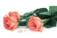 Rozen en trouwringen Stock Afbeelding