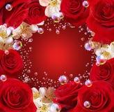 Rozen en witte bloemen royalty-vrije illustratie