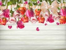 Rozen met lint Eps 10 Stock Fotografie