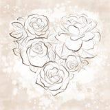 Rozen in vorm van een hart. Uitstekende stijl Royalty-vrije Stock Fotografie