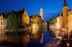Rozenhoedkaai in Bruges, Belgium. Famous location the Rozenhoedkaai, at night in Bruges, Belgium Royalty Free Stock Photography