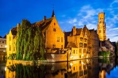 Rozenhoedkaai Bruges i Belgien Fotografering för Bildbyråer