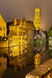 Rozenhoedkaai In Bruges At Night Stock Photo