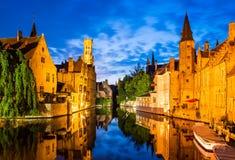 Rozenhoedkaai, Brugge in België royalty-vrije stock afbeelding