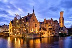 Rozenhoedkaai, Brugge, Belgium. Rozenhoedkaai is in Brugge the most visited and photographed place. The channel is wider here and offers a large view for royalty free stock photo