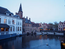 Rozenhoedkaai Canal in Bruges At Night Royalty Free Stock Photos