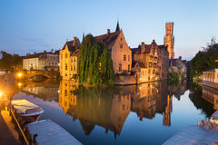 Rozenhoedkaai and Dijver river canal in Bruges, Belgium Stock Photos