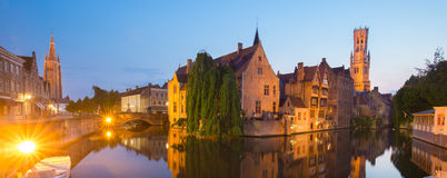 Rozenhoedkaai and Dijver river canal in Bruges, Belgium. Royalty Free Stock Images