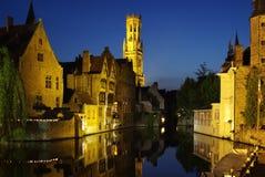 Rozenhoedkaai, um dos marcos de Bruges Fotos de Stock Royalty Free